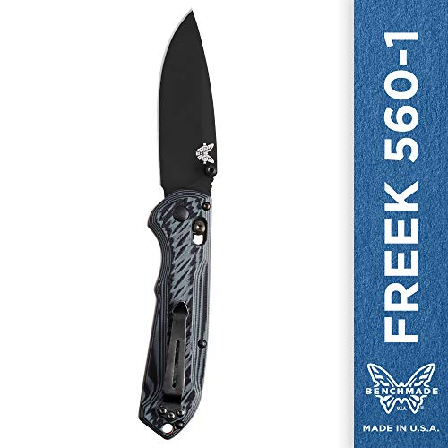 Benchmade – Freek 560-1, EDC Folding Knife, Drop-Point Blade, Manual Open, Axis Locking Mechanism, Made in USA, Coated, Straight
