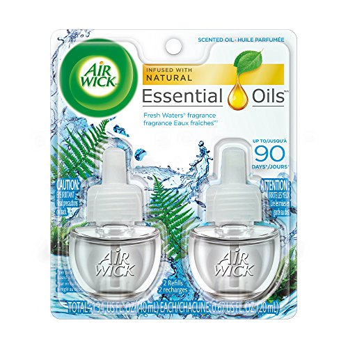 Air Wick plug in Scented Oil 2 Refills, Fresh Waters, (2x0.67oz), Essential Oils, Air Freshener