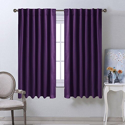 Kitchen Blackout Draperies Curtains for Window - (Royal Purple) 52 by 63 inches, Set of 2 Panels, Energy Saving Rod Pocket / Back Tab Blackout Drapes by NICETOWN