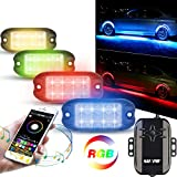 #9: Rock Lights, 4Pcs RGB LED Rock Lights Kit with Sunpie App & Remote& Flowing/Music/Voice Function&256 Mode for Jeep Off Road Truck SUV ATV