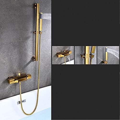 浴槽の蛇口 バスタブとシャワートリムキットバスタブ蛇口滝スパウト浴槽ブラッシュニッケル (色 : Gold b, Size : Free size)