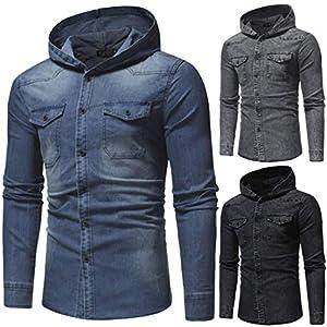 aliveGOT Men's Denim Hooded Jacket Button Vintage Hoodeds Casual Jeans Coats