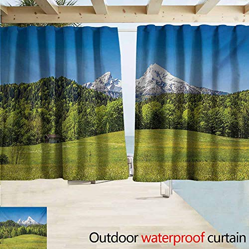 Wakefield Curtain - Zmacdk Germany Grommet Outdoor Curtains Bavarian Alps Village of Berchtesgaden and Watzmann Germany Grommet Curtains for Bedroom W63 xL45 Sky Blue Fern Green Forest Green