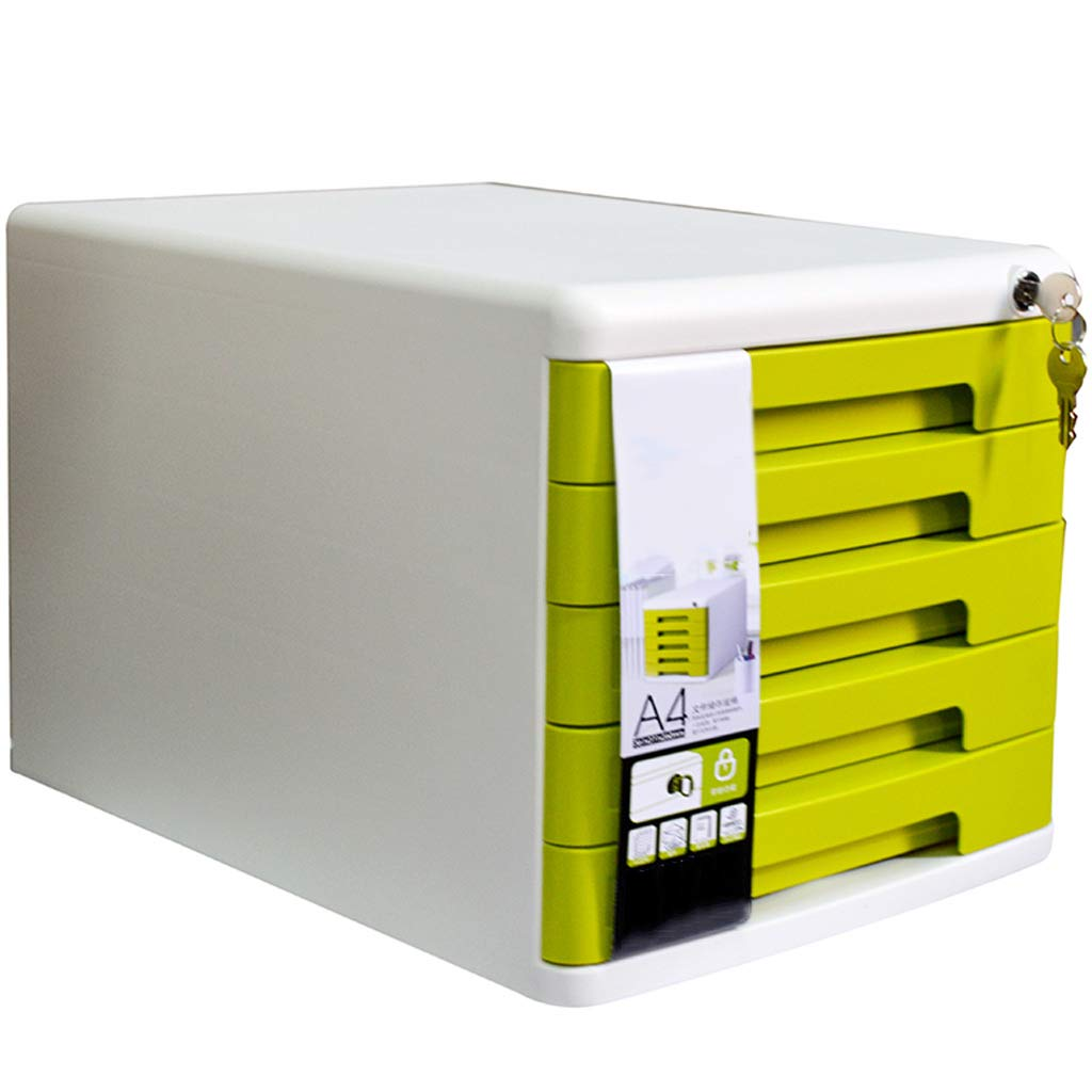File cabinets LITING Five-Layer Desktop Drawer A4 Data Office Storage Box 5 Layer Filing Cabinet (Color : Yellow)