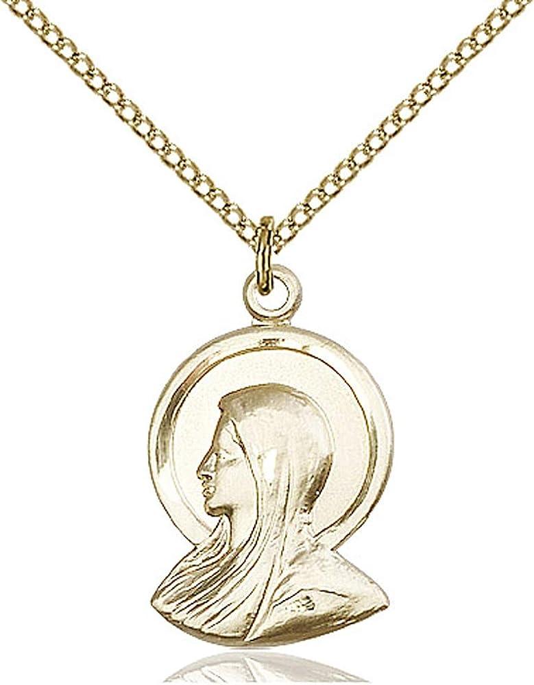 14kt Gold Filled Madonna Pendant Gold Filled Lite Curb Chain Patron Saint 7//8 x 1//2