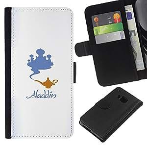 KLONGSHOP // Tirón de la caja Cartera de cuero con ranuras para tarjetas - Aladdin - HTC One M7 //
