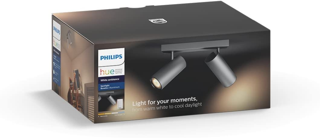 Philips Hue White ambiance Burrato - Foco doble LED color gris ...
