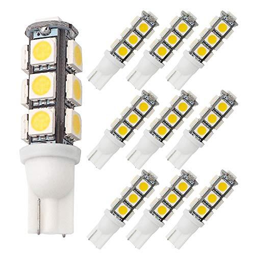 GRV T10 921 194 13-5050 SMD Wedge LED Bulb lamp Super Bright Warm White DC 12V Pack of 10