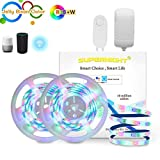 SUPERNIGHT 32.8Ft RGBW Smart LED Strip Lights Waterproof - Wireless Smartphone Controlled 560 LEDs Light Strip Kit Work with Alexa,Google Home, IFTTT【Unique Light-Jelly Bean Color】