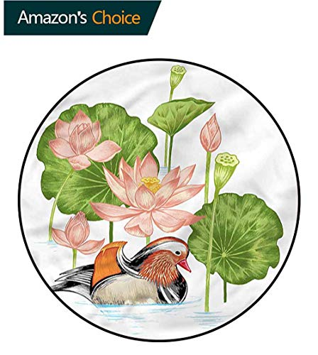 Mandarin Foam (Rubber Duck Modern Washable Round Bath Mat,Mandarin in Pond Lilies Non-Slip Living Room Soft Floor Mat Round-59)