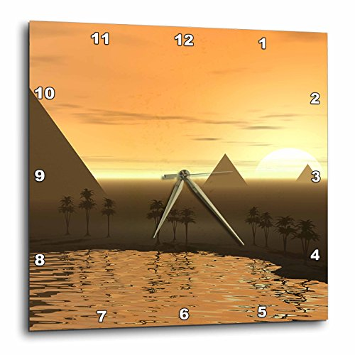 3dRose dpp_19938_2 The Giza Necropolis Sun Rises Over The Desert Sands Near Egyptian Pyramids at Giza Wall Clock, 13 by 13-Inch