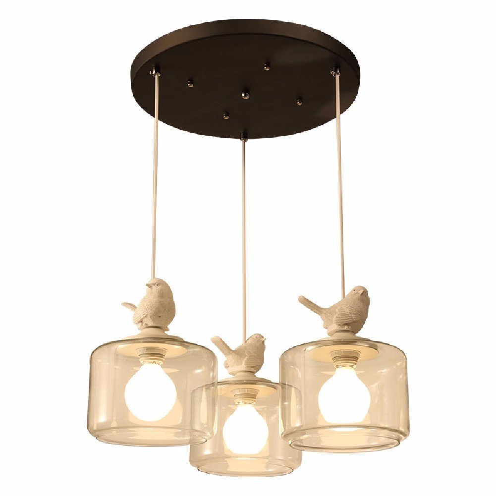 HQLCX Chandelier Restaurant Bar Children'S Room Chandelier Personal Balcony Glass Bird Chandelier,3 Head