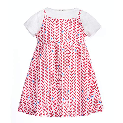 COTTON FAIRY Baby Girls' Playwear Dress Fake Two-Piece Floral Short Sleeve Round Neck Summer Outfit, Red and White, 6-9M