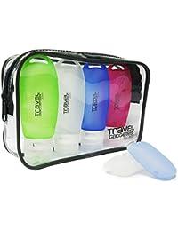 Leak Proof Travel Bottles for Men & Women (4) + 2 FREE Toothbrush Cases + Durable Bag | TSA Approved