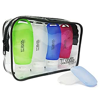 Travel Accessory Bottles (4) + TOOTHBRUSH CASE (2) + POUCH | TSA Approved (Green/Blue/Pink/White)