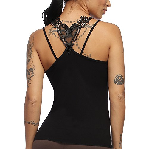 Exlura Womens Cami Tank Tops Criss Cross Lace Back Hollow Out ()