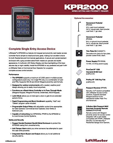 LiftMaster KPR2000 KeyPad//Card Reader Weigand or Stand Alone 2000 User