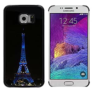 PC/Aluminum Funda Carcasa protectora para Samsung Galaxy S6 EDGE SM-G925 Architecture Eiffel Tower At Night / JUSTGO PHONE PROTECTOR