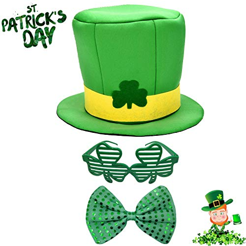 St Patrick's Day Party Supplies Favor Set - 1 Shamrock Green Top Hat for Men Women, 1 Plastic Eyeglasses Clover Shutter Sunglasses, 1 Giant Sequin Bow Tie, Irish Day Celebration Costume Set