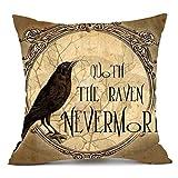 Throw Pillowcase, Kimloog Pumpkin Owl Bat Skull Bones Print Halloween Linen Sofa Cushion Cover Home Decor Zipper Pillow Cases (J)