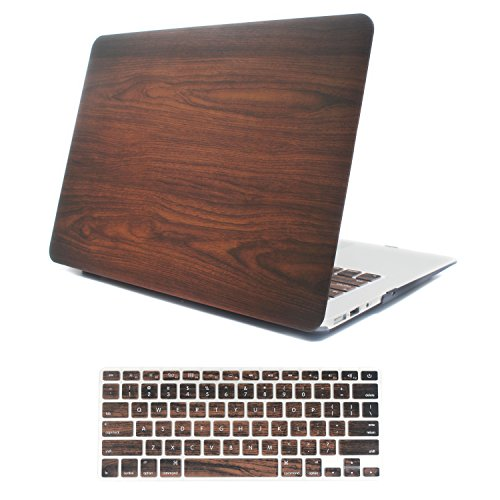 (iCasso MacBook Air 11 inch Case Rubber Coated Glossy Hard Shell Plastic Protective Cover for MacBook Air 11 inch Model A1370/A1465 with Keyboard Cover (Wood))