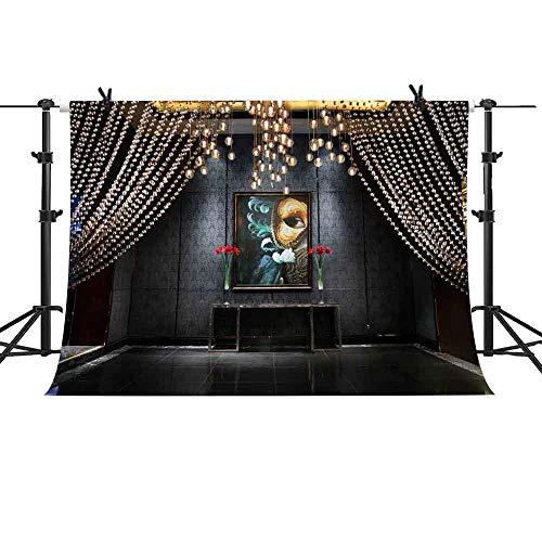 MTMETY 10x7ft Crystal Bead Curtain Palace Background Venetian Mask Masquerade Oil Painting Background Photo Studio GEME894