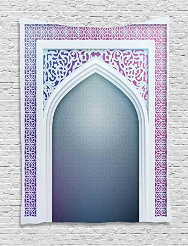 Ambesonne Moroccan Tapestry Decor, Old Fashion Ottoman Arch Door Surrounded by Digital Featured Sacred Geometry Motif, Wall Hanging for Bedroom Living Room Dorm, 40 W x 60 L Inches, Mauve Grey