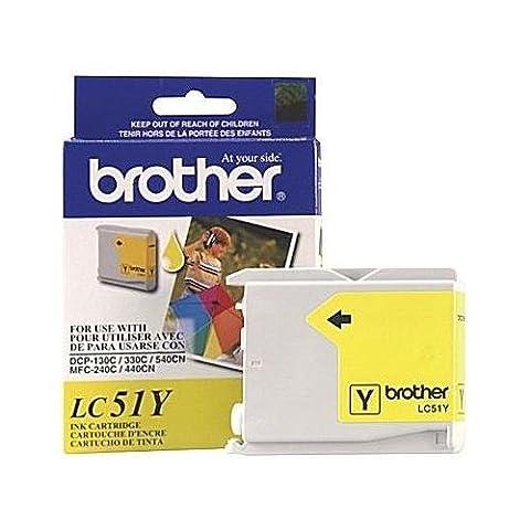 Brother LC51Y (LC-51Y, LC-51-Y) Yellow OEM Genuine Inkjet/Ink Cartridge (400 Yield) - Retail - Genuine Oem Fax