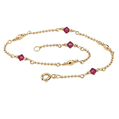 Birthstone 14k Yellow Gold over Sterling Silver Ankle Bracelet - July- Simulated Ruby mSWQqS