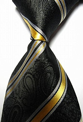 Dream Pole New Classic Stripe Black Gold Silver JACQUARD WOVEN Men's Tie cdc# 33545 (Bear Arms Costume)