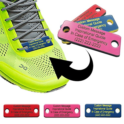 Waterproof Shoe ID Tag Personalized Impact Acrylic - in Case of Emergency Identification for Runners, Cyclists, Athletes, Travelers, Fitness, and Children