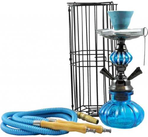 2 Hose Portable Pumpkin Hookah with Cage - 11-Inch - Blue by Momentum