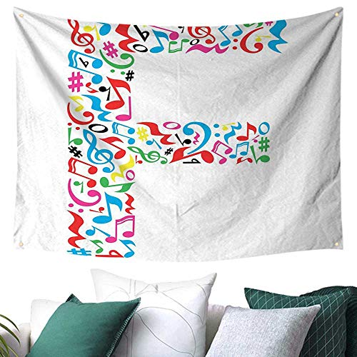 (WilliamsDecor Letter F Tapestry for Bedroom Letter F Alphabet with Vibrant Music Notes Harmony Song Design ABC Graphic Print Multicolor Home Decorations 84W x 54L Inch)