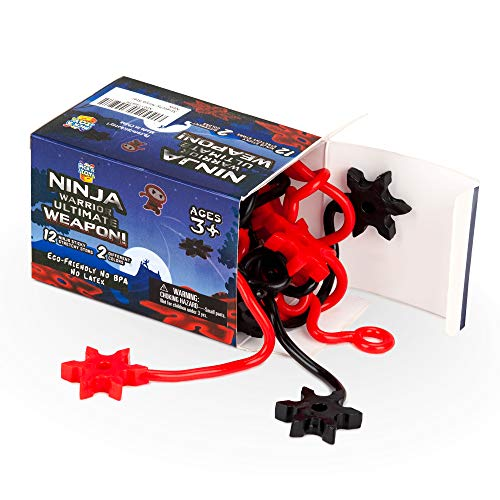 (Pick A Toy Ninja Star Sticky Toys [12-Pieces] Elastic Ninja Toys for Boys & Girls | Great Birthday Gift & Party Favors Idea | Black & Red Colors | Eco-Friendly, BPA-Free Materials)
