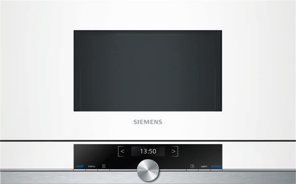 Siemens BF634RGW1 iQ700 - Microondas integrable / encastre sin marco sin grill, 21 L, 900 W, color blanco con acero inoxidable