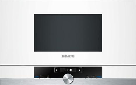 Siemens BF634LGW1 iQ700 - Microondas integrable / encastre sin marco sin grill, 21 L, 900 W, color blanco con acero inoxidable