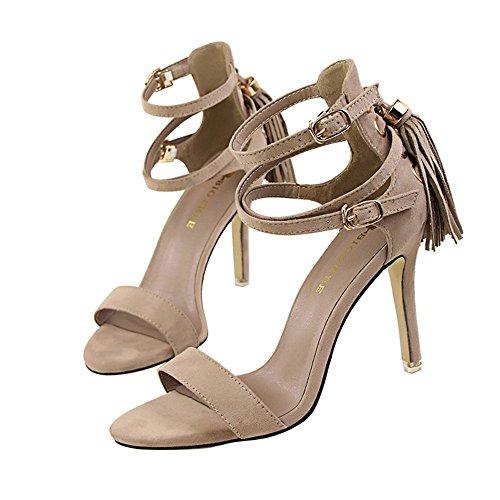 9be50db97 z dw Los talones de moda retro verano sexy Suede flecos con sandalias Caqui