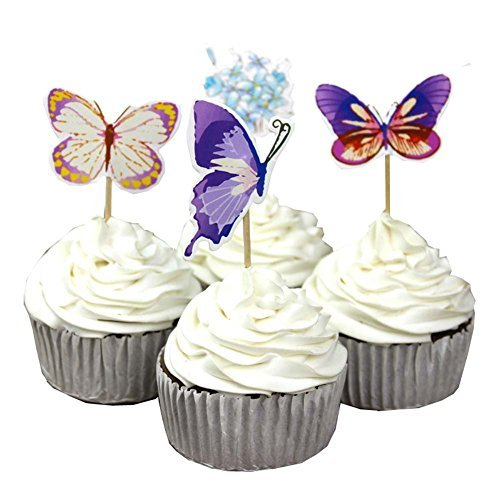 Garden Butterfly Flowers Cupcake Toppers Picks Girls Assorted Celebration Birthday Cake Decorations Set of 24pcs]()