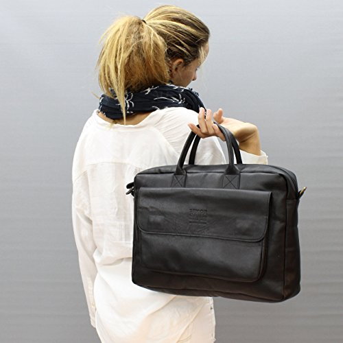 Woman's 15inch handmade nappa black leather messenger briefcase for laptop / macbook, crossbody -