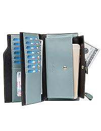 BOSTANTEN Women's RFID Blocking Genuine Leather Wallet with Zipper Pocket Light Blue