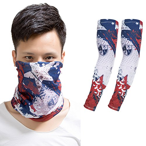 Baiyu Printing Face Mask Bandana+Arm Sleeves, UV Sun Protection Set Elastic Multifunctional Magic Scarf Headband and Compression Arm Warmers (Diy Hippy Costume)