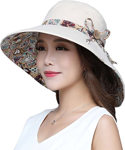 Ls Lady Womens Summer Flap Cover Cap Cotton Anti-UV UPF 50+ Sun Shade Hat Bow. Adjustable Hat (One Size, Z Off-White)