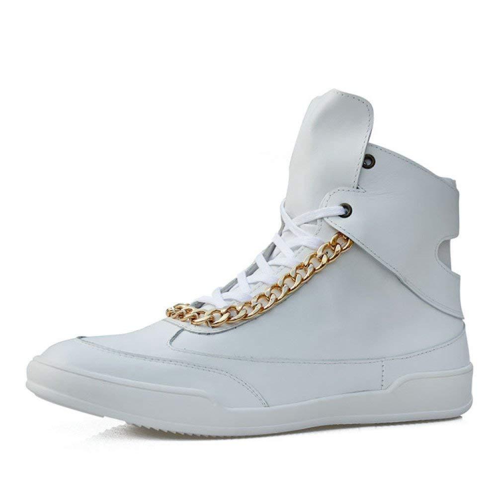 Hip Hop Herren Leder Martin Stiefel Street Skateboard Schuhe Sportschuhe (Farbe   Weiß, Größe   7-7.5UK(Foot Length 26.5cm))