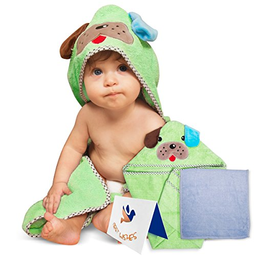 Adorable Soft Cotton Puppy Hooded Baby Towel [Green], Large Sized:30X30 Inch | Soft Washcloth | Designed Greeting Card | Parenting eBook | Thick and Absorbent | For Infants, Toddlers and Newborns
