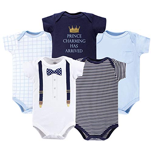 Little Treasure Unisex Baby Cotton Bodysuits, Prince Charming 5-Pack Short-Sleeve, 0-3 Months (3M) -