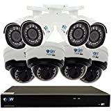 GW Security 8CH 1920P NVR Network IP Security Camera System - 8 x HD 1080P 5.0 Megapixel 2.8~12mm Varifocal Zoom 80ft IR PoE IP Dome Camera + 4TB Hard Drive - Support ONVIF Quick QR Code Remote Access
