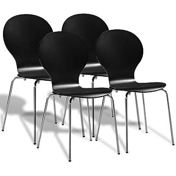 Lingjiushopping 4 Stück Stühle Esszimmer Stapelbar Schwarz