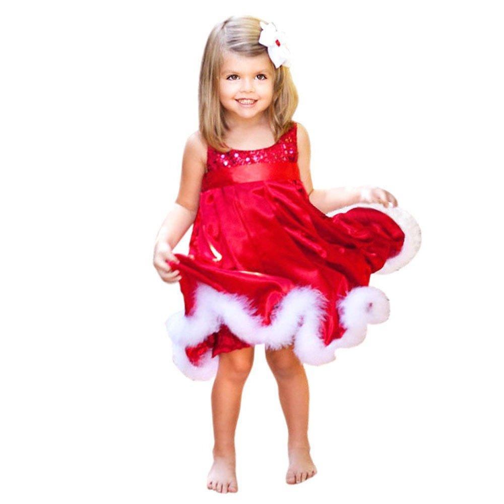 Christmas Baby Girls Sleeveless Princess Dress Cute Kids Party Red Cotton Tutu Dresses Xmas 1-6 Years (=^∶^=)1PC Dress