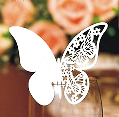 100pcs Heart with Butterfly Wedding Party Table Number Name Paper Place Cards Wine Glass Cup Decoration Wall Decals Sticker For Bridal Baby Shower Engagement Birthday Tea Graduation Favor Pink