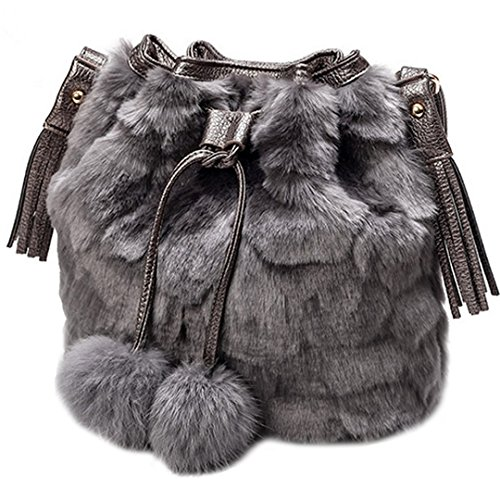Women Faux Fur Shoulder Bag Handbag Bucket Bag Drawstring Bag Cross Body Bag (Gray)